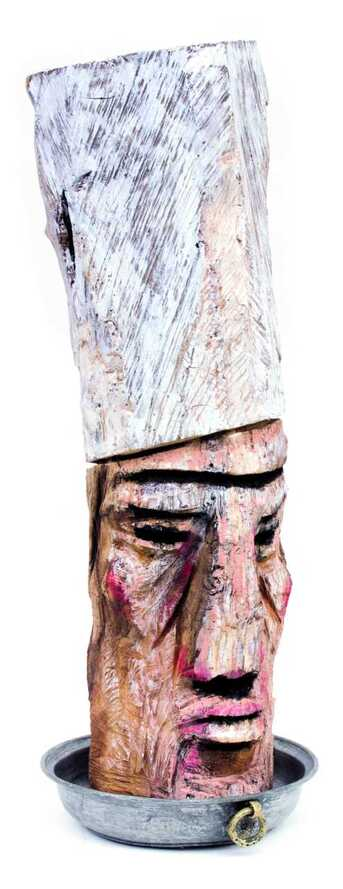 ​Barış Cihanoğlu  | Big Chef Oil on wooden sculpture + Found object |  83,5x22x29 cm ​​​[ I am interested in this work ]